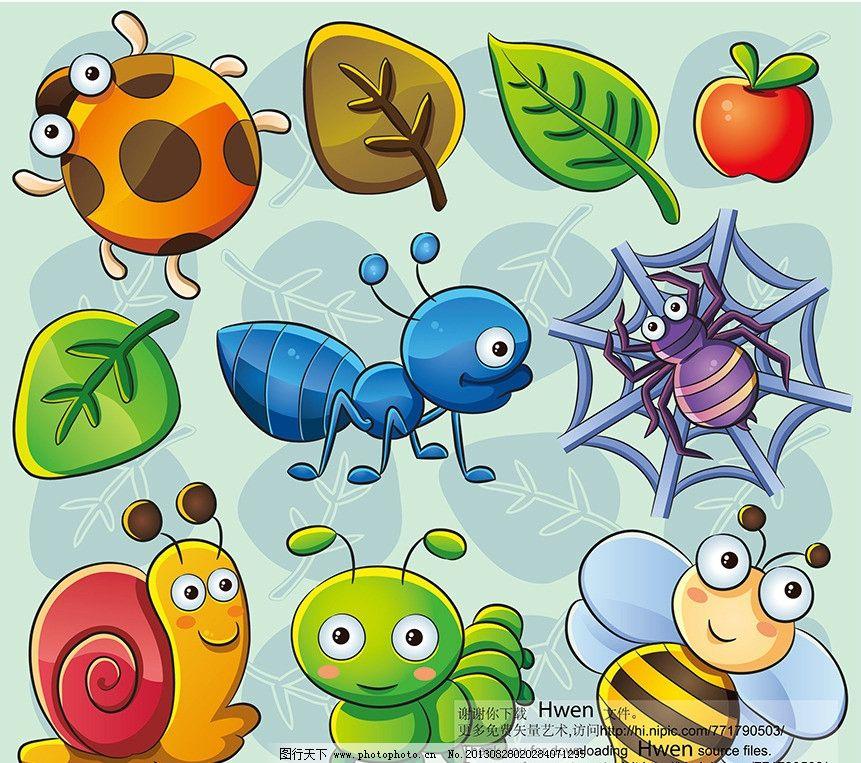 卡通动物 瓢虫 叶子 苹果 蚂蚁 蜘蛛 蜗牛 毛毛虫 蜜蜂 矢量素材 底纹