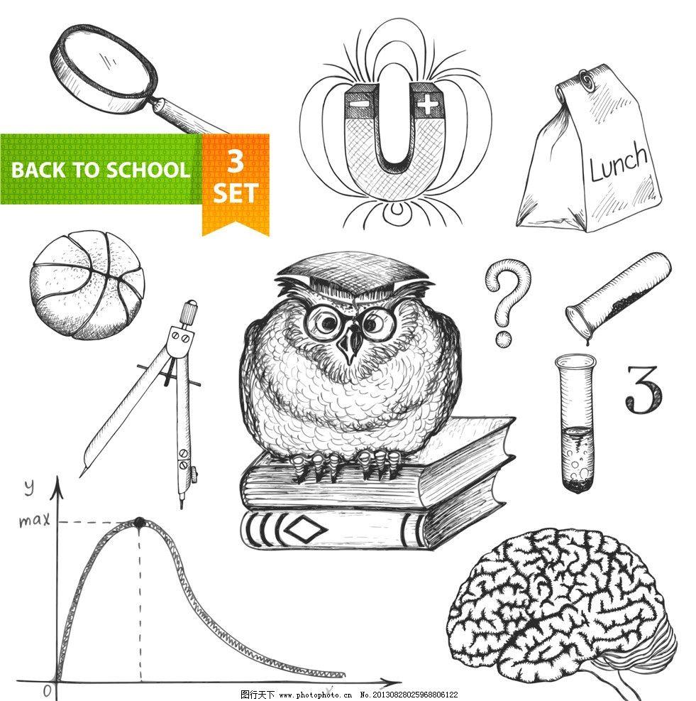 手绘素描用习用品 手绘 素描 用习用品 大脑 人脑 曲线 圆规 放大镜