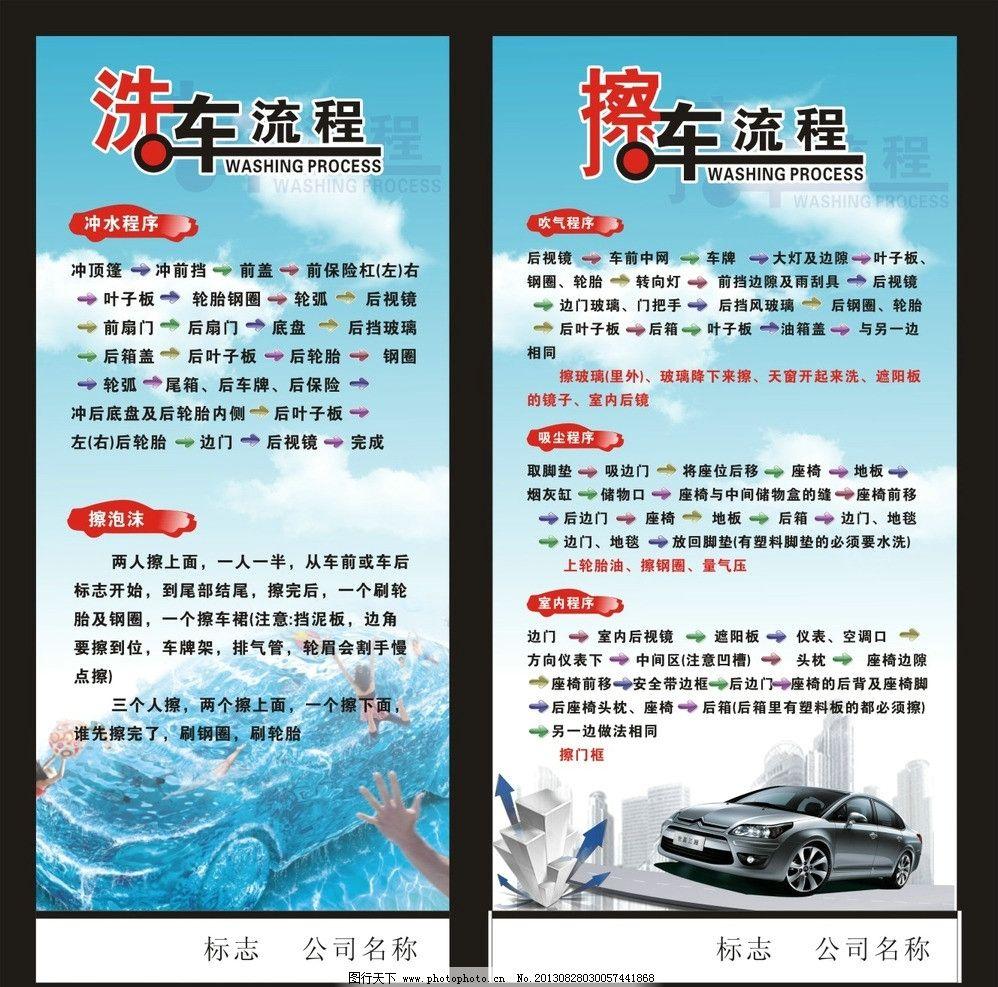 汽车海报 汽车美容 汽车维修 擦车流程 汽车版面 汽车广告设计