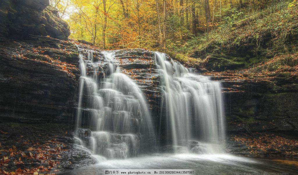瀑布 森林 流水 水流 树木 山水风景 自然景观 风景美图 自然风景