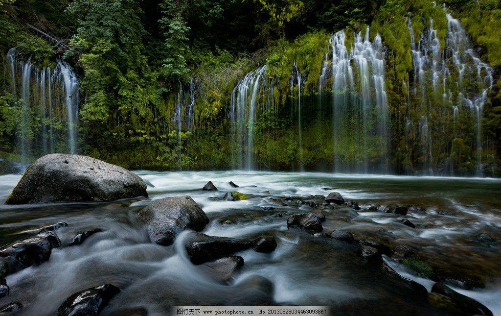 瀑布 森林 石头 流水 水流 树木 山水风景 自然景观 风景美图 自然