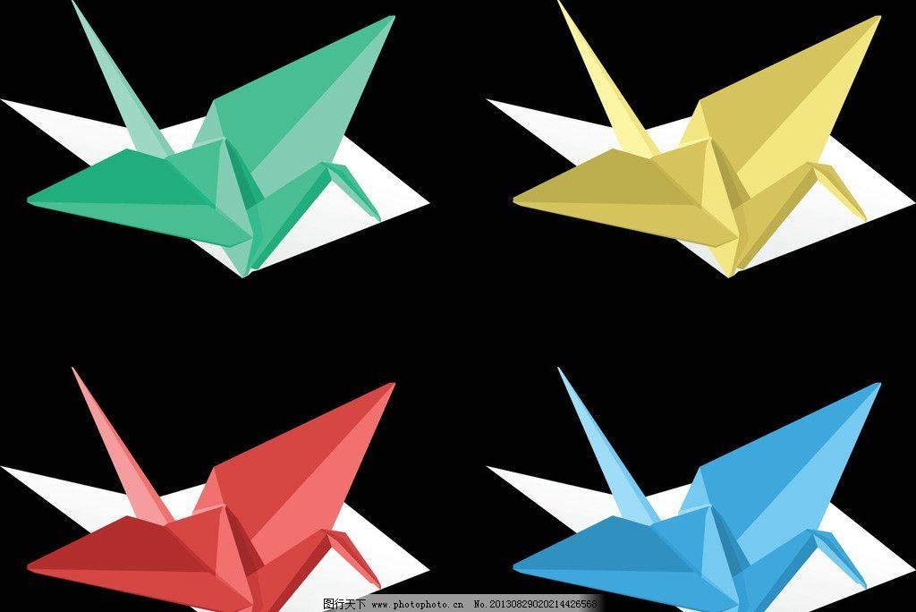 纸鹤 千纸鹤 彩色纸鹤 动感千纸鹤 鹤 折纸 鸟 和平 爱情 飞 飞翔