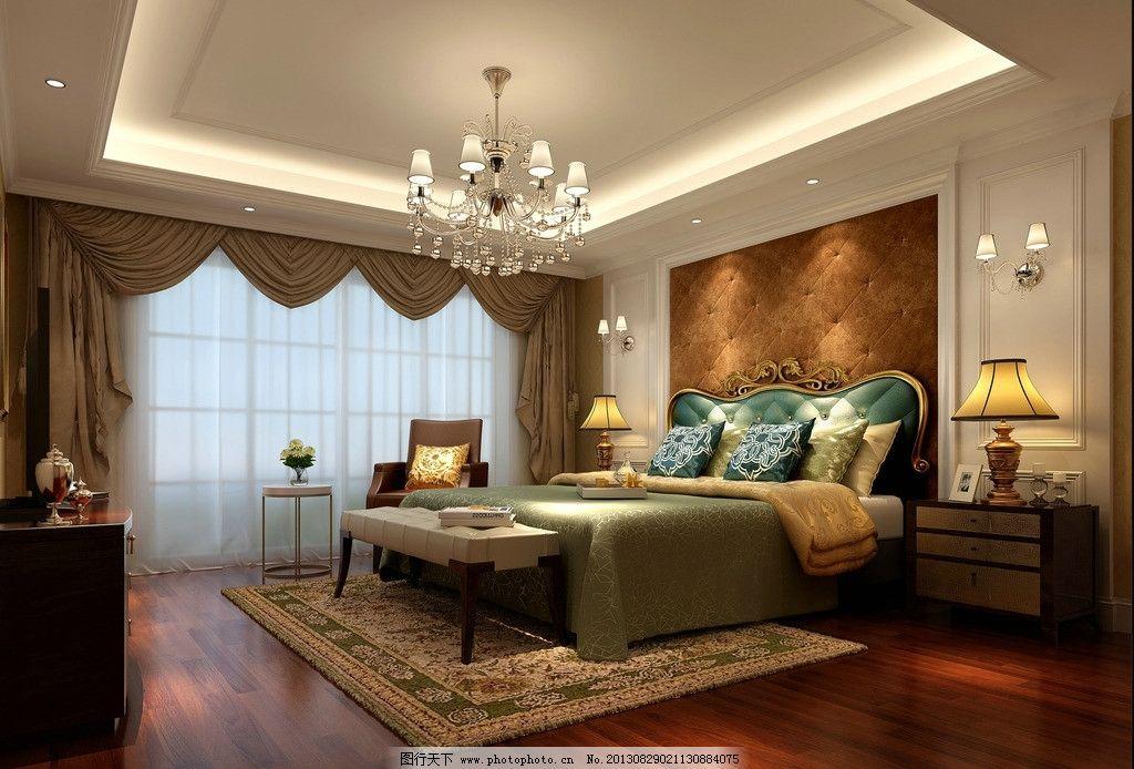 欧式卧室 欧式             设计 地毯 床 窗帘 吊灯 3d作品 3d设计