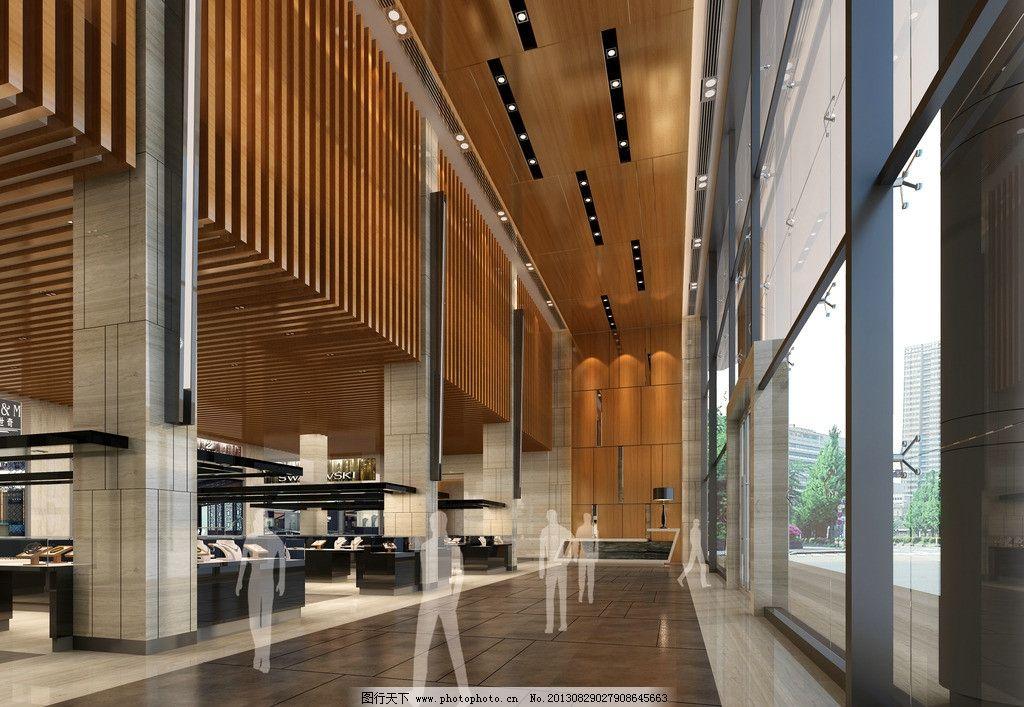 3d效果圖 室內效果圖 裝修效果圖 走道 吊頂 行人 落地窗 環境設計