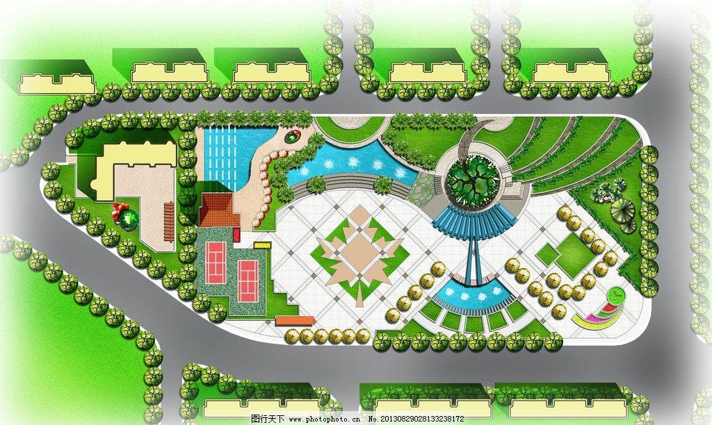 某广场平面效果图 枫叶广场 会所 台地 游泳池 古树长廊 景观设计