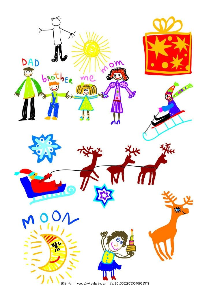 卡通简笔画 儿童简笔画 卡通 可爱 小鹿 小人 圣诞老人 psd分层素材