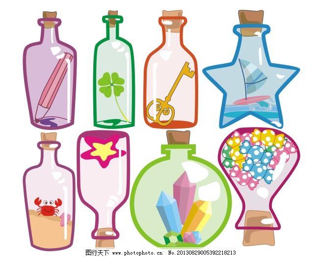漂流瓶免费下载 可爱 浪漫 瓶子 浪漫 瓶子 可爱 矢量图 广告设计