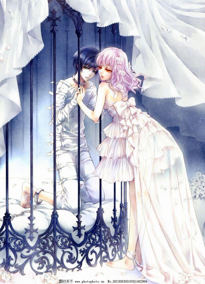 动漫人物 动漫 卡通 男女 情侣 帅哥 美女 窗前 长裙 长发 囚禁 动漫