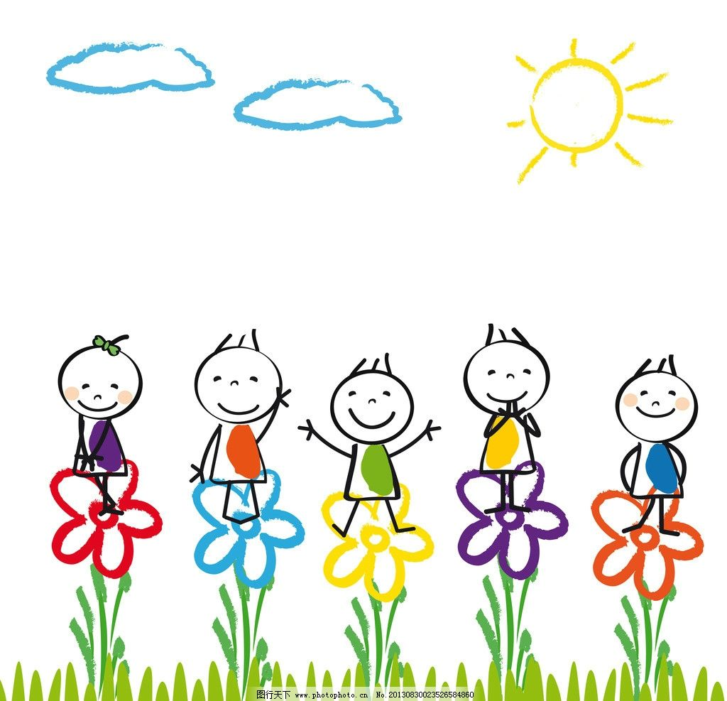 手绘卡通人物 儿童 小孩 孩子 世界各国小朋友 黑人小孩 白人小孩