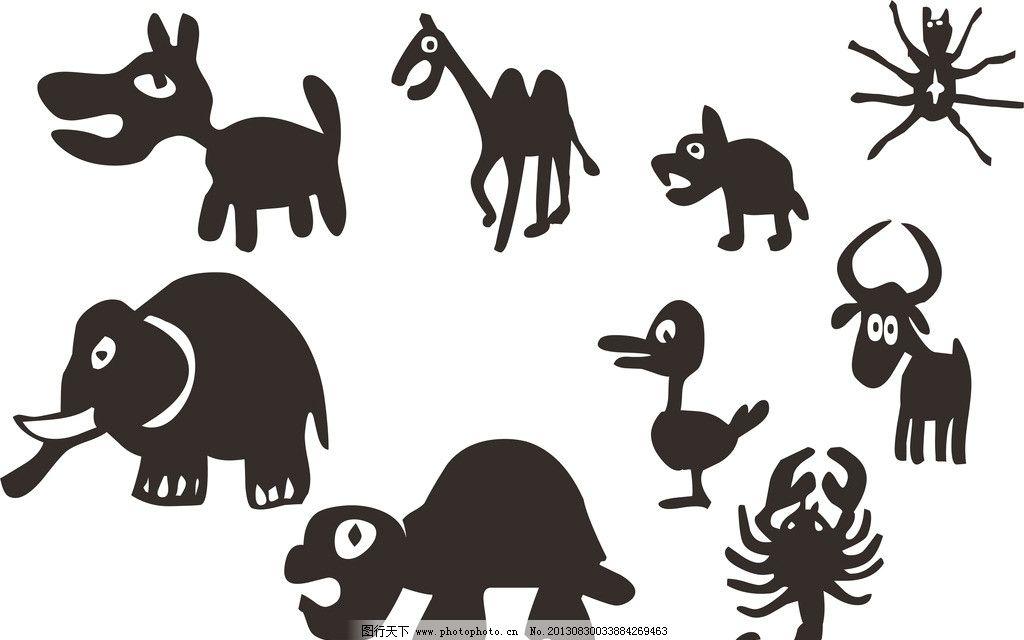 q型宠物 动物大全 动物素材 大象 乌龟 蝎子 蜘蛛 牛 马 鸭子 剪影