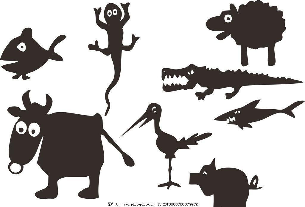q型宠物 动物大全 动物素材 蜥蜴 鳄鱼 牛 猪 羊 鱼 剪影大全 cdr
