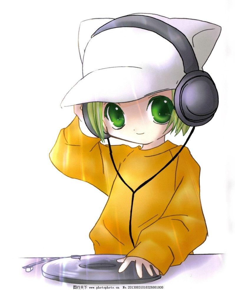 动漫人物 动漫 卡通 女孩 美女 可爱 q版 耳朵 猫咪 耳麦 音乐 唱片
