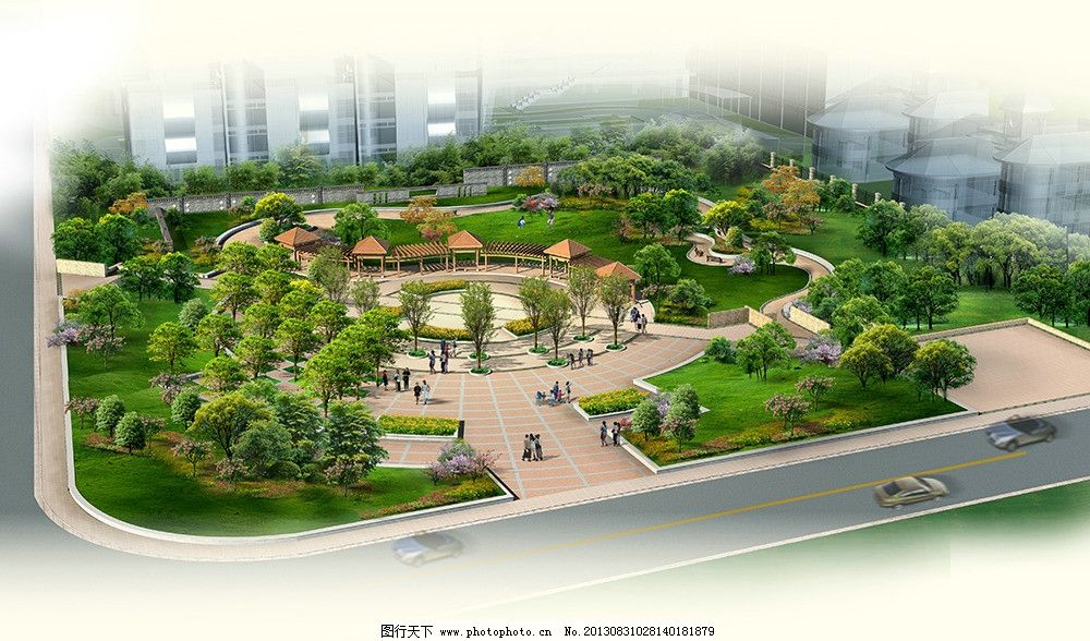 小区广场景观效果图图片