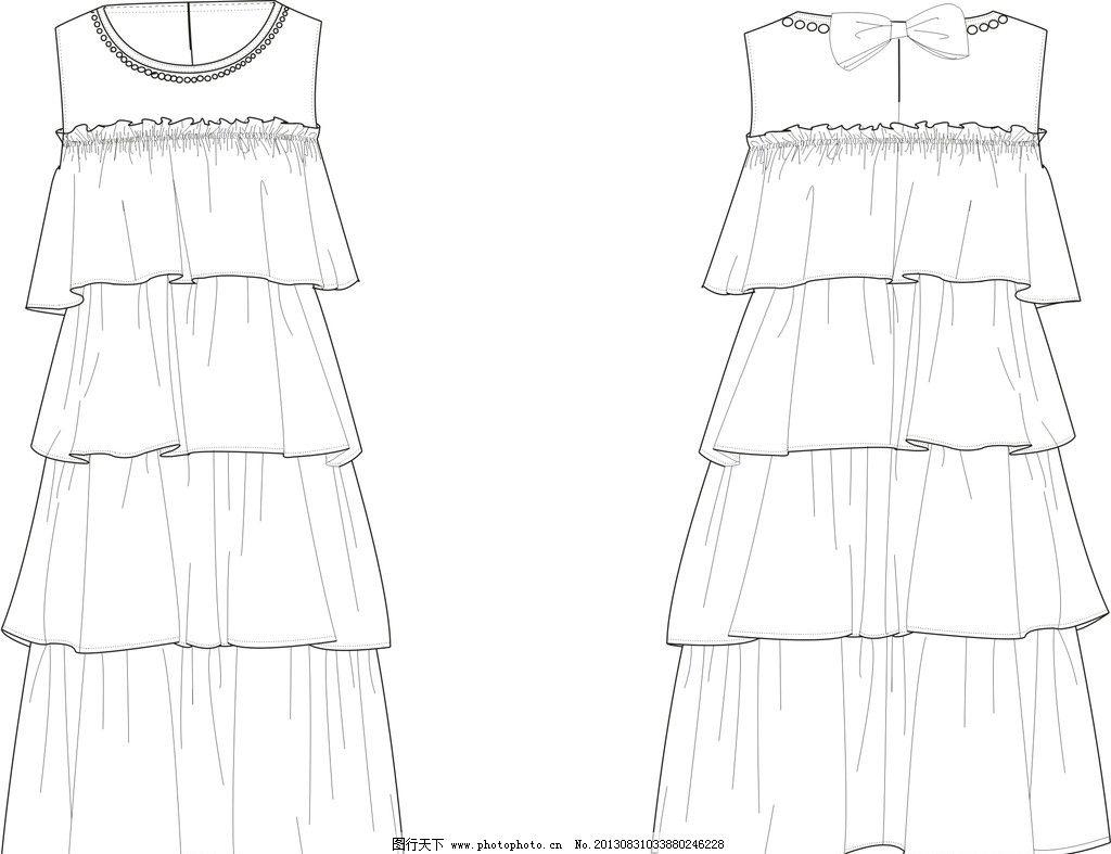 连衣裙款式图 款式图 服装设计 服装绘画 连衣裙 蛋糕裙 矢量素材