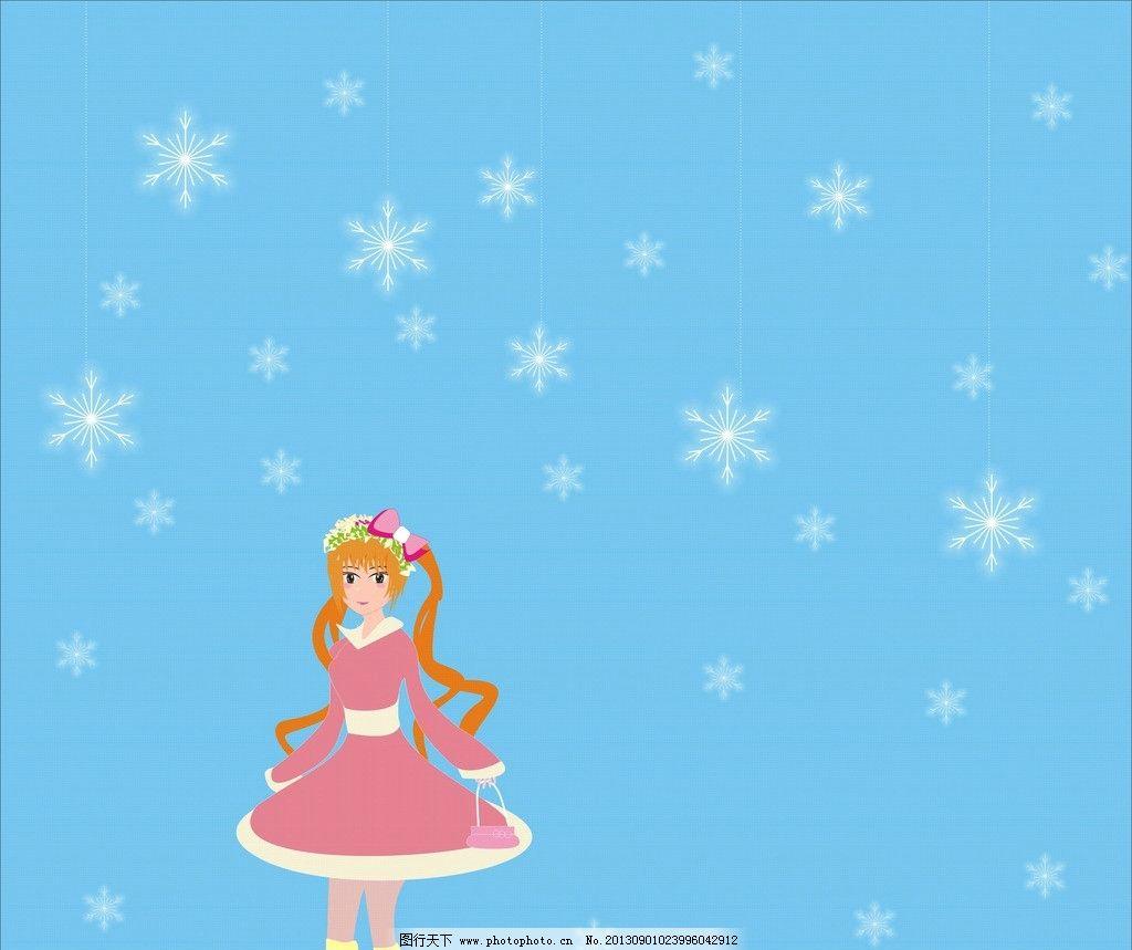 雪地里的小女孩图片