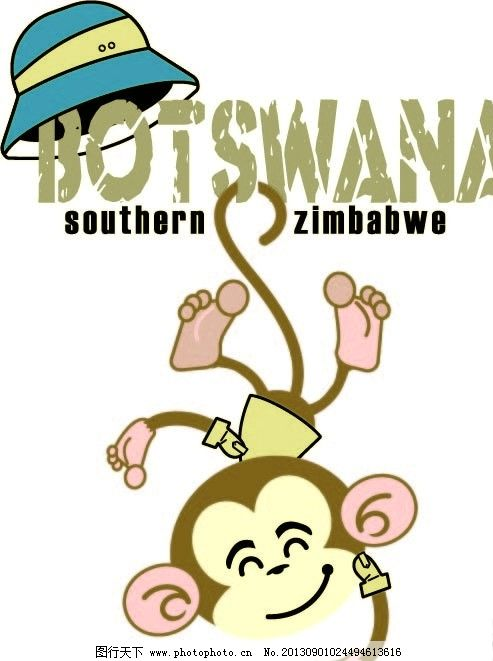 猴子 帽 文字 创意 印花 野生动物 生物世界 矢量 ai
