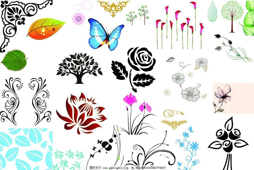 花纹 花朵纹样 花纹素材 花纹模板 花朵素材 云纹 蝴蝶 角柱 psd分层