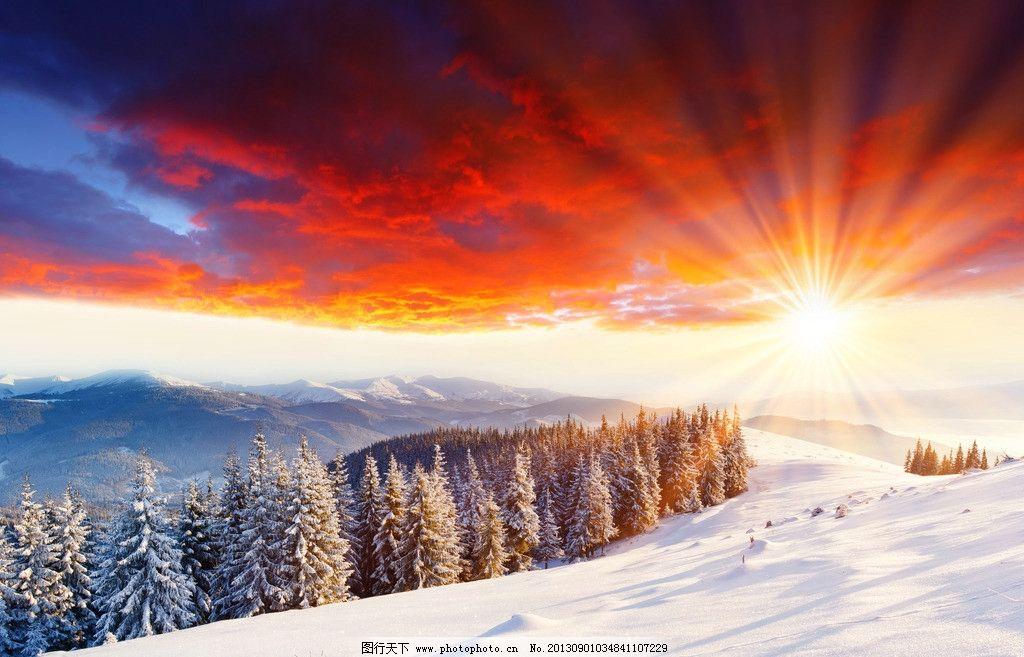雪景 日出 彩霞 火烧云 阳光 朝霞 晚霞 夕阳 黄昏 雪地 冬天 森林 雪山 山脉 冰雪 松树 针叶林 壮观 壮美 云彩 冰天雪地 冬季 美景 风景 景观 景色 梦幻 唯美 壁纸 美丽自然 自然风景 自然景观 摄影 300DPI JPG