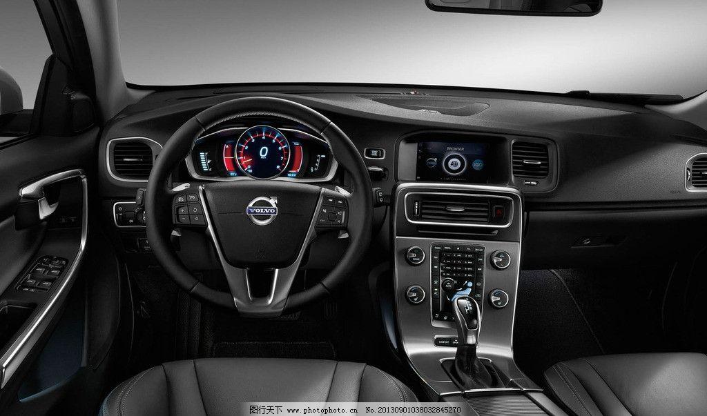 驾驶室 内饰设计 汽车内饰 方向盘 仪表盘 中控台 黑色真皮 沃尔沃