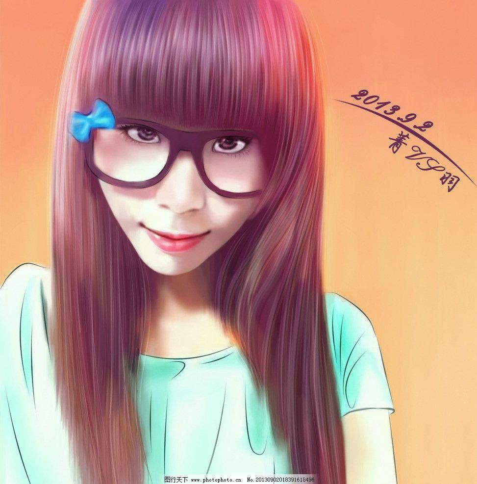 可爱女孩 鼠绘图片 美女 女孩 人物 鼠绘风格 直发 可爱 蝴蝶结 眼镜
