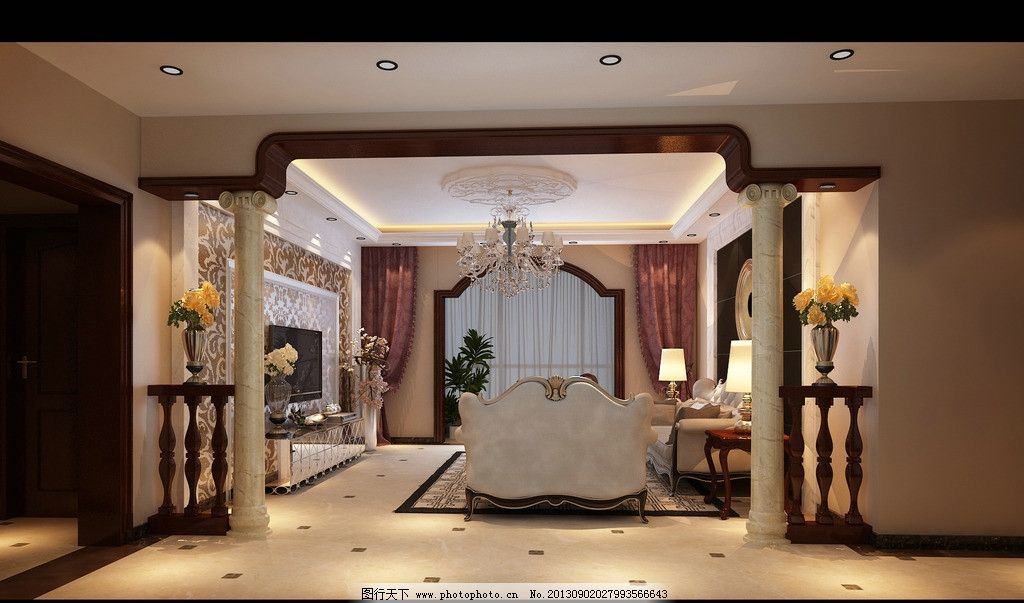 客厅 沙发 电视 电视柜 文化墙 吊灯 吊顶 柱子 欧式风格 窗户