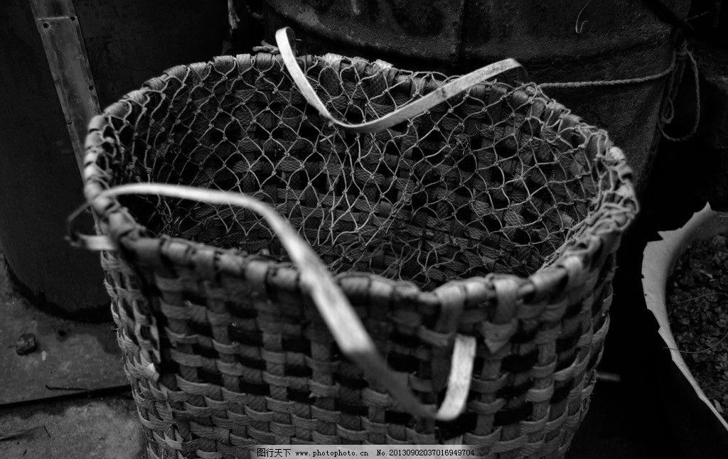 背篓吗 编织 黑白 背篓 复古 塑料 生活素材 生活百科 摄影 300dpi