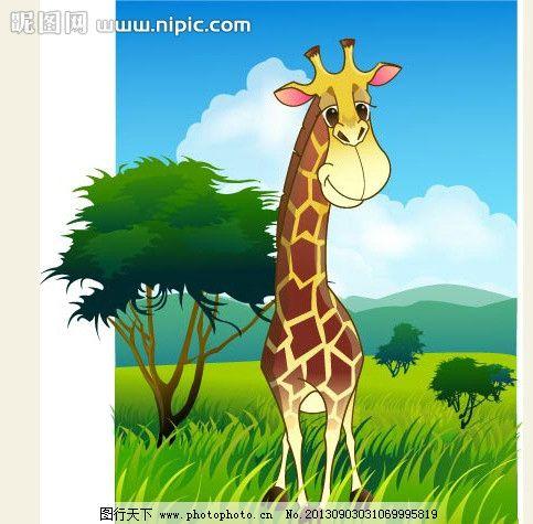 可爱小动物绿色长颈鹿图片