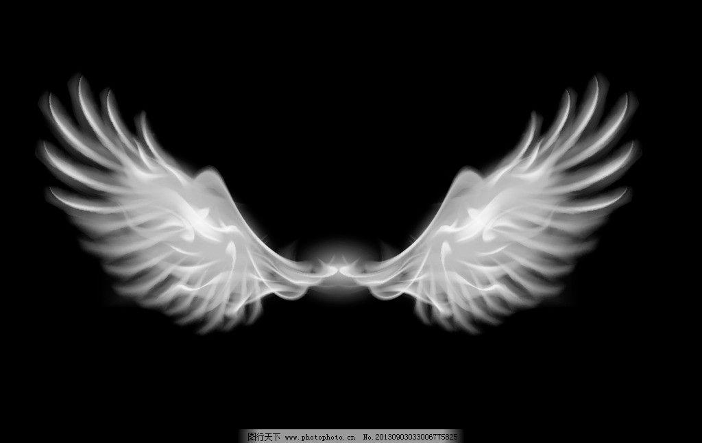 翅膀 羽毛 黑白 天使 单色 设计 其他 psd分层素材 源文件 72dpi tif
