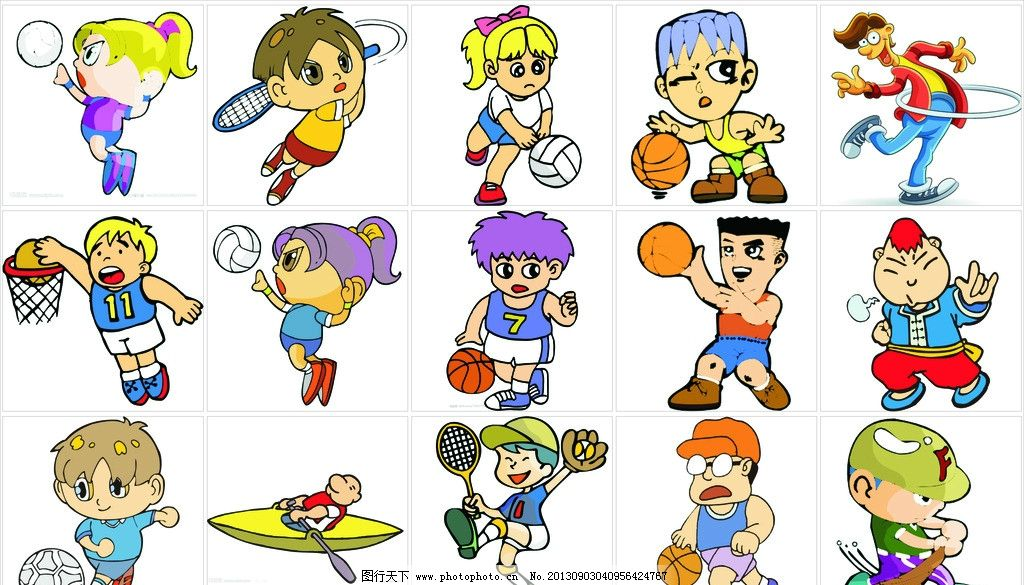 运动图片,人物 卡通 胸贴 奥运 儿童幼儿 矢量人物-图