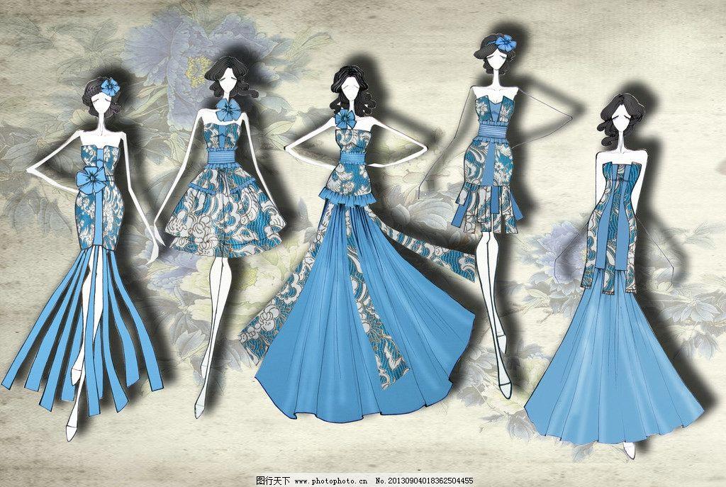 礼服 晚礼服 时装画 礼服款式图 服装插画 动漫人物 动漫动画 设计
