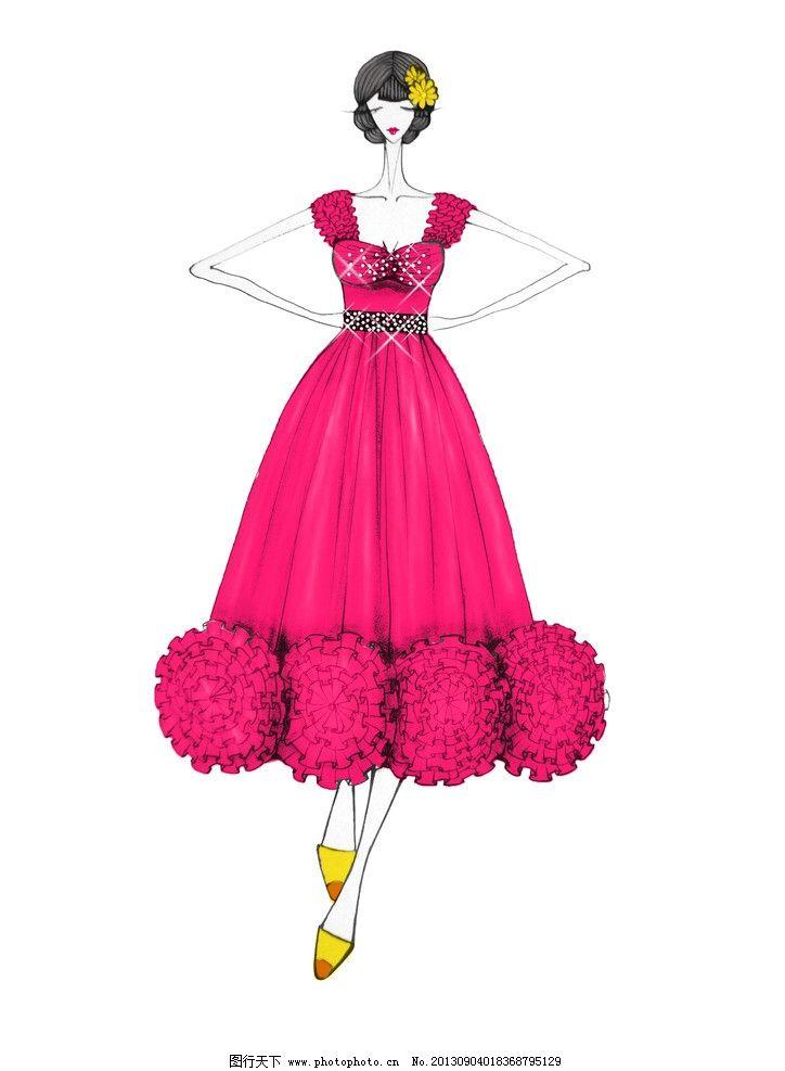 礼服 晚礼服 时装画 服装款式图 人物插画 美女 长裙 红色 动漫人物