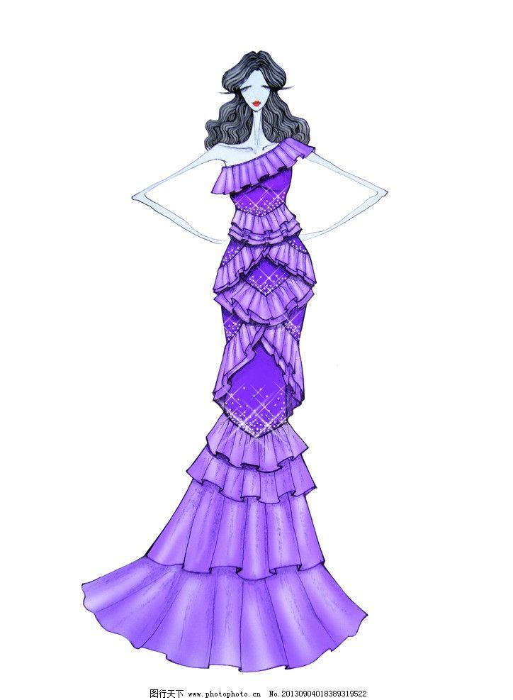 礼服 晚礼服 时装画 服装款式图 人物插画 美女 长裙 紫色 动漫人物