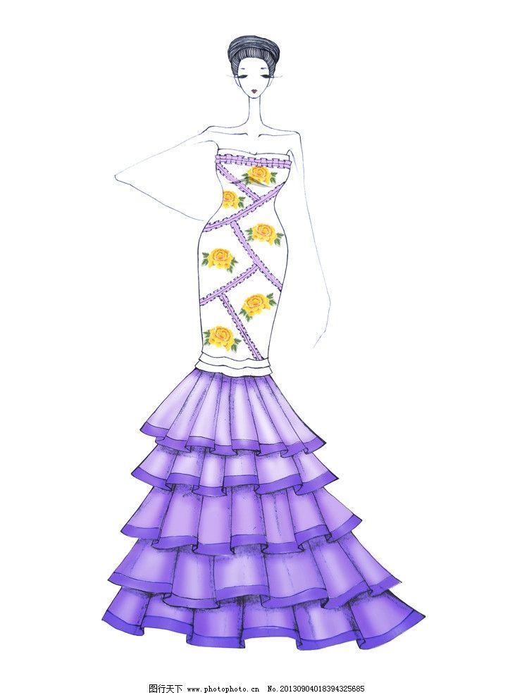 裙子 长裙 连衣裙 服装款式图 服装效果图 服装插画 美女 动漫人物
