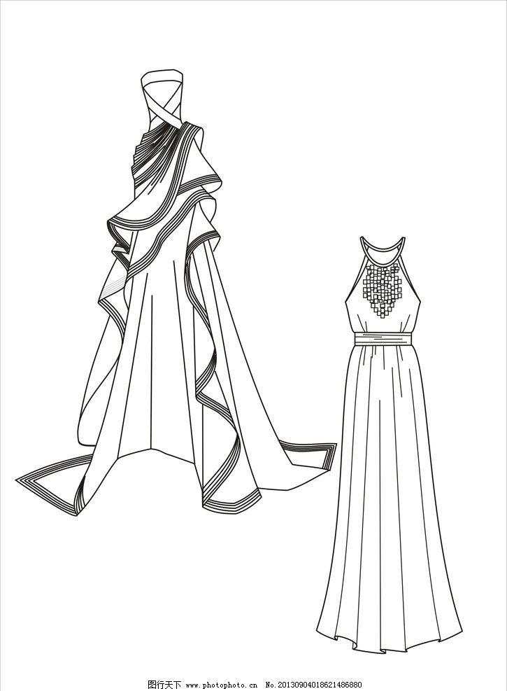 礼服 晚礼服 时装画 服装款式图
