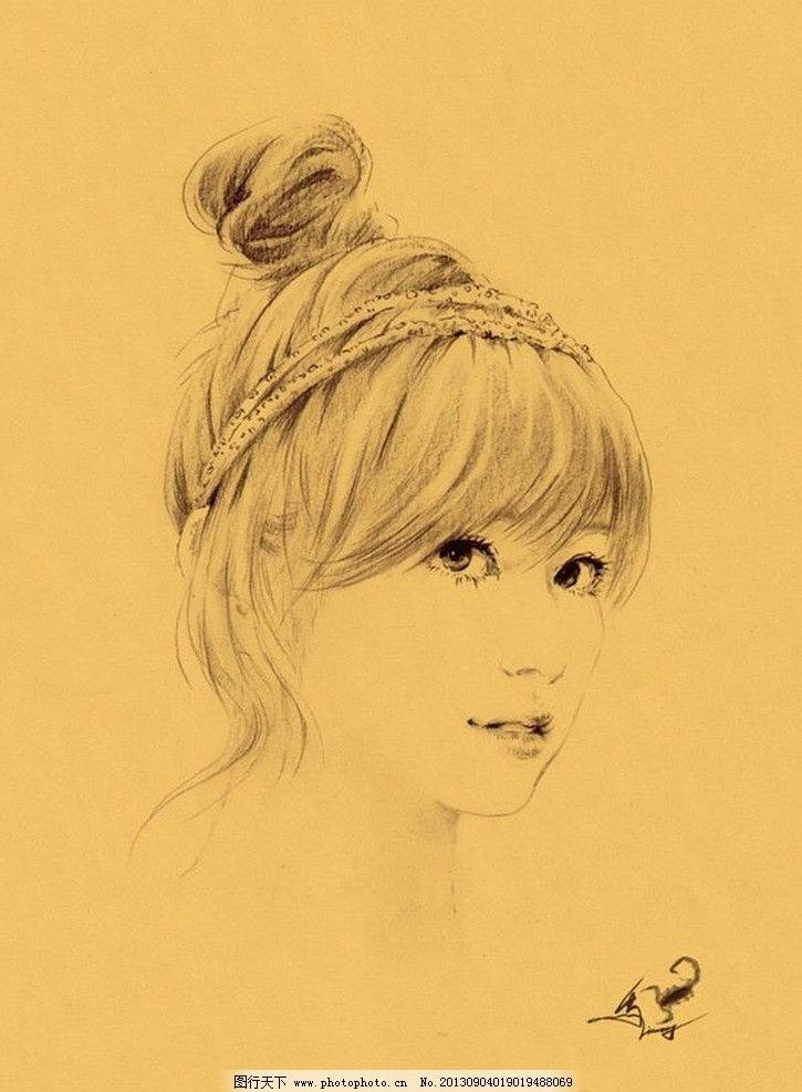 手绘美女头像 大眼睛 长发