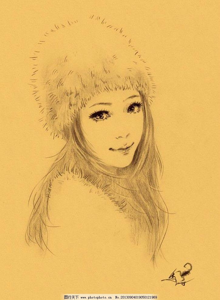 手绘美女头像 美女 大眼睛 长发 戴帽子 手绘      绘画书法 文化艺术