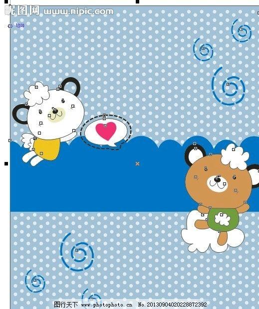 快乐小熊 矢量熊 小熊共舞 爱心小熊 可爱小熊 两只小熊 底纹背景