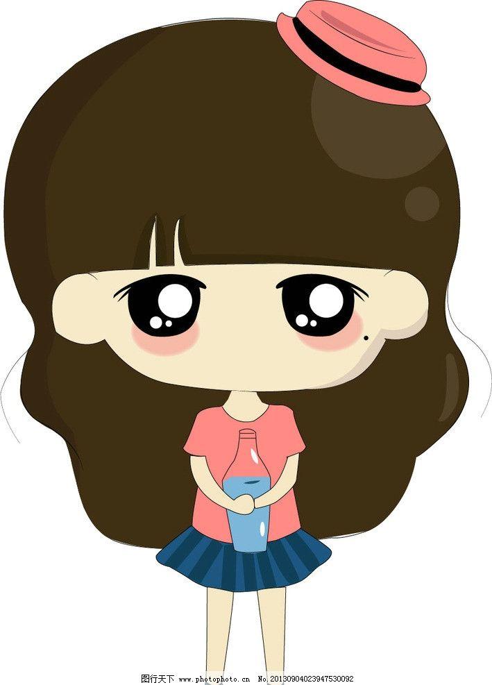 小希星座女孩卡通矢量 水瓶座 帽子 星座 矢量 卡通可爱女孩 其他人物