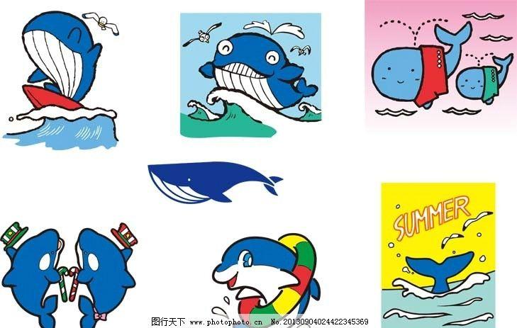 动物 鲸鱼 海报 圣诞帽 游泳圈 冲浪 ai 印花 图案 卡通 野生动物