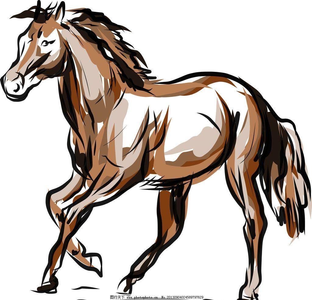 手绘素描动物 手绘 素描 复古 马 动物 生物世界 野生动物 矢量素材