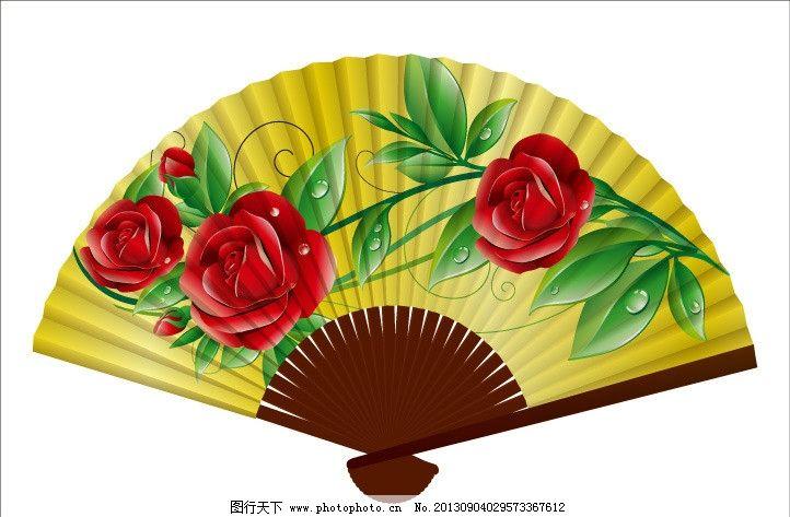 扇子 折扇 花卉 广告设计 美术绘画 文化艺术 扇子图案 图案设计