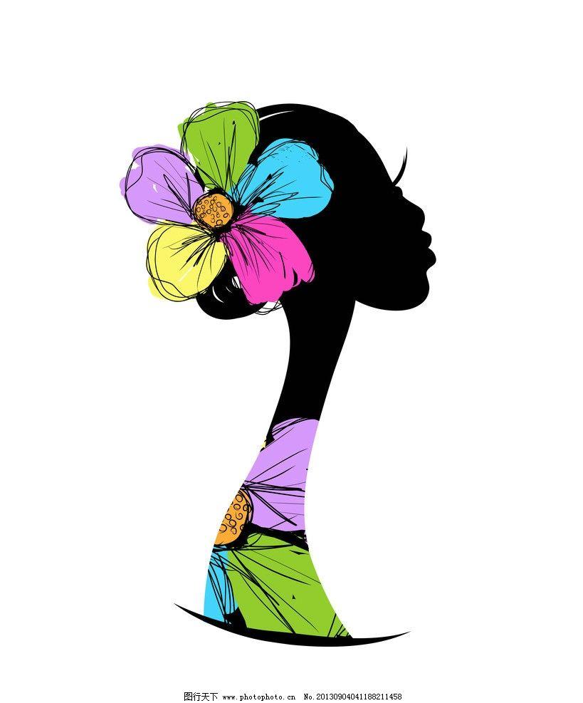 手绘少女 女孩 女人 时尚 花卉 头饰 长发 女生 美女 矢量女人