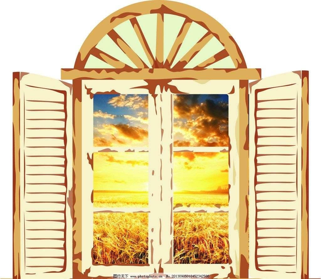 秋季窗户 卡通 秋季素材 窗子 装饰 动漫动画