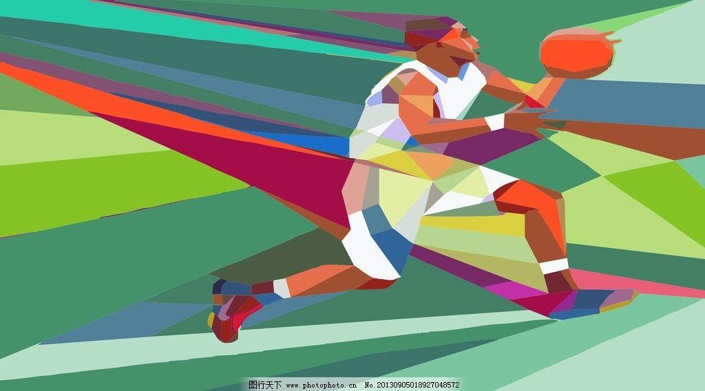 创意几何构图扣篮 几何艺术 几何拼图 篮球 运球 大型海报 运动专题图片