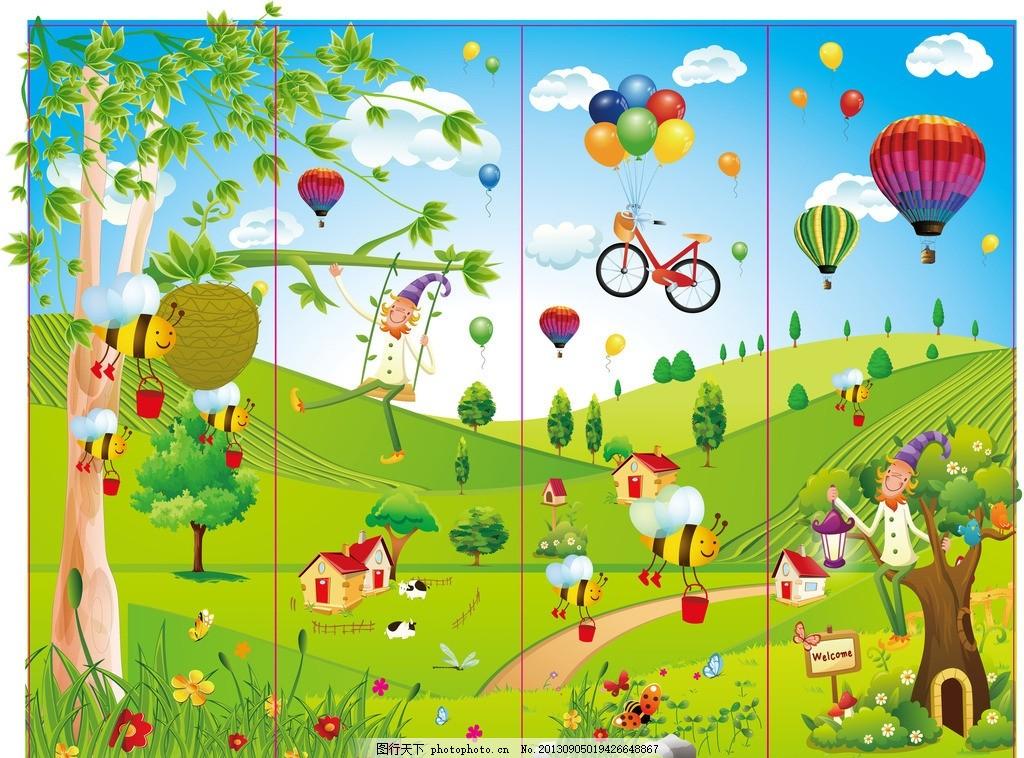 幼儿园门装饰画 幼儿园 卡通画 儿童画 矢量图 漫画 六一儿童节 儿童