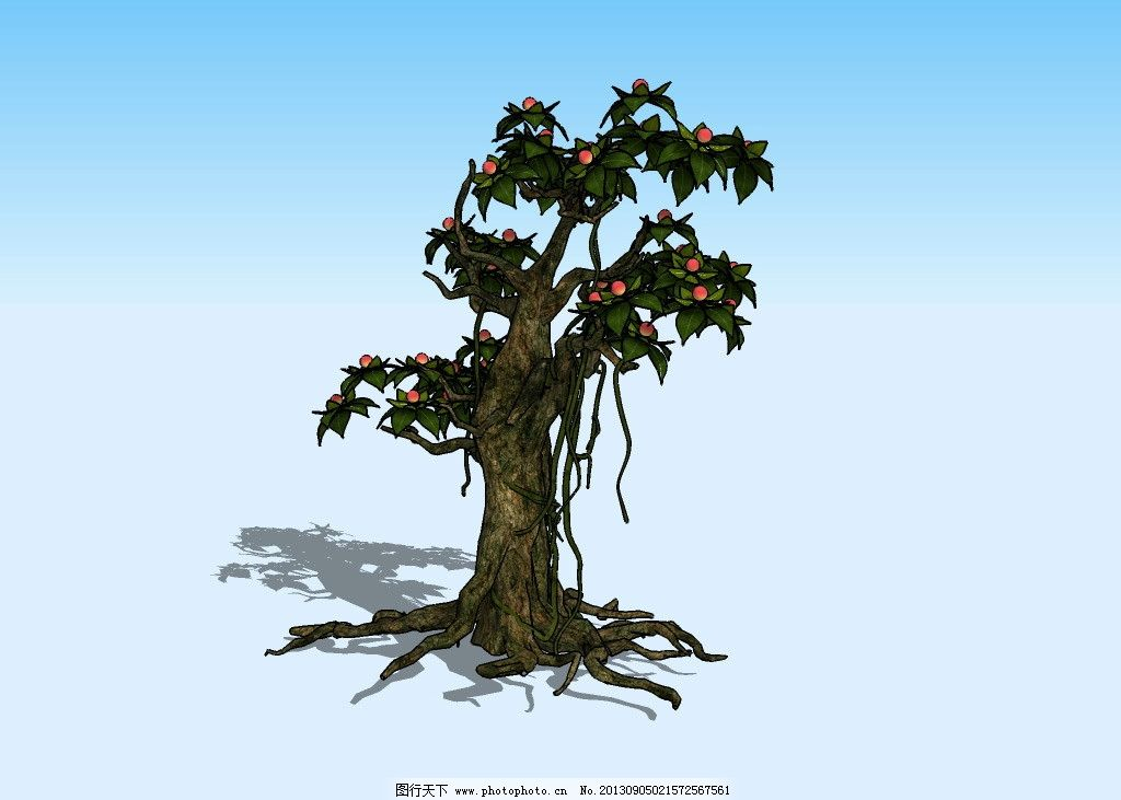 仙树3d模型 枯藤 老树 树根 树干 树枝 树叶 绿叶 红果 植物