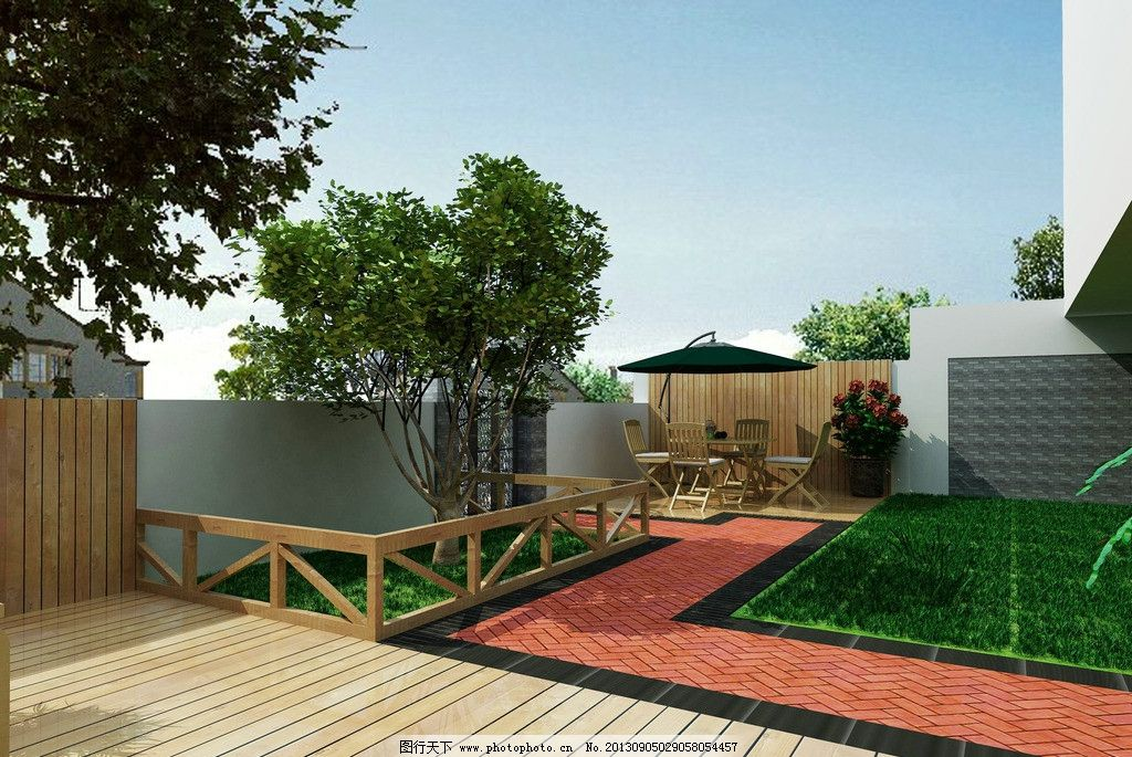 庭院设计 建筑外观 防腐木 psd格式        其他设计 环境设计 源文件