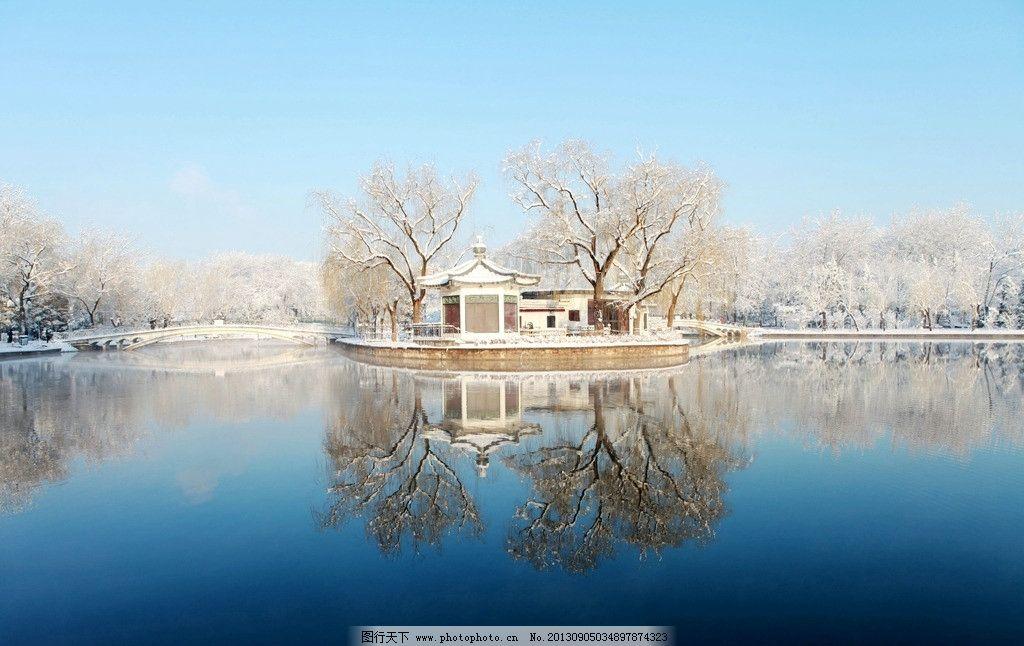 青年湖雪景 公园 湖面 湖心岛 自然风景 自然景观 摄影