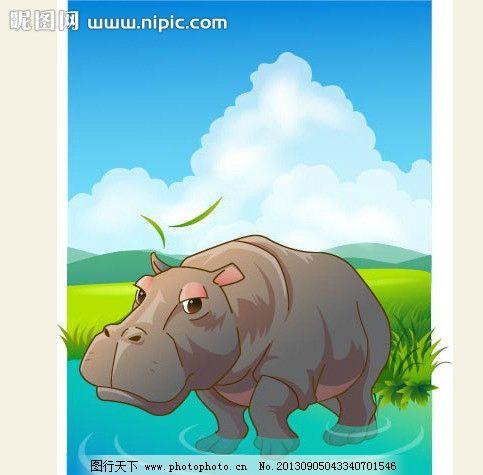 可爱动物绿色河马图片