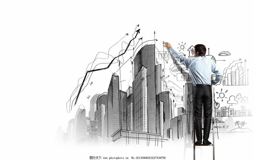 男士手绘高楼建筑图片